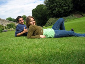 Young couple on lawn